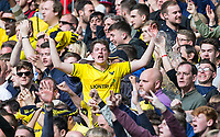 Oxford United supporters celebrate during the The Checkatrade Trophy / EFL Trophy FINAL match between Oxford United and Coventry City at Wembley Stadium, London, England on 2 April 2017. Photo by Andy Rowland.
