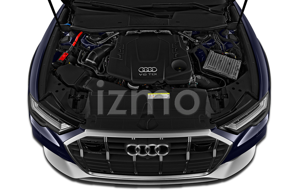 Car stock 2020 Audi A6 allroad quattro Base 5 Door Wagon engine high angle detail view