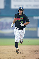 Justin Yurchak (33) of the Great Falls Voyagers rounds the bases after hitting a home run against the Helena Brewers at Centene Stadium on August 18, 2017 in Helena, Montana.  The Voyagers defeated the Brewers 10-7.  (Brian Westerholt/Four Seam Images)