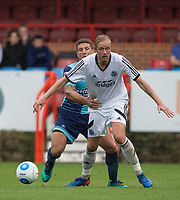Adam El-Abd of Wycombe Wanderers holds back Scott Rendall of Aldershot Town during the pre season friendly match between Aldershot Town and Wycombe Wanderers at the EBB Stadium, Aldershot, England on 22 July 2017. Photo by Andy Rowland.