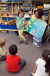 Berkeley CA  Preschool student participating in singing book performance in front of classmates.