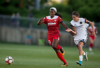 Boyds, MD. - Saturday, June 24 2017:  Emily Menges, Cheyna Williams during a regular season National Women's Soccer League (NWSL) match between the Washington Spirit and the Portland Thorns FC at Maureen Hendricks Field, Maryland SoccerPlex.<br />  The Washington Spirit defeated the Portland Thorns FC 1-0.