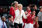 Wisconsin Badgers head coach Lisa Stone cheers on her team during an NCAA college women's basketball game against the Duke Blue Devils during the ACC/Big Ten Challenge at the Kohl Center in Madison, Wisconsin on December 2, 2010. Duke won 59-51. (Photo by David Stluka)