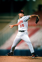 Mike Mussina of the Baltimore Orioles during a game at Anaheim Stadium in Anaheim, California during the 1997 season.(Larry Goren/Four Seam Images)