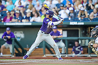 TCU Horned Frogs third baseman Derek Odell (5) at bat against the Vanderbilt Commodores in Game 12 of the NCAA College World Series on June 19, 2015 at TD Ameritrade Park in Omaha, Nebraska. The Commodores defeated TCU 7-1. (Andrew Woolley/Four Seam Images)