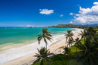 Aerial view of Kailua Beach, with the Mokulua Islands in the distance, Windward O'ahu.