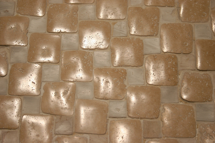 "Giovanni Barbieri Timeworn 2""x2"" Light Travertine mosaic with 1"" white terracotta"