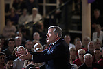 Former British Prime Minister Gordon Brown MP delivering a speech to supporters at an anti-Scottish independence Better Together rally at Community Central Hall, Glasgow. The event was staged by Better Together who were campaigning to prevent an independent Scotland from leaving the United Kingdom. On the 18th of September 2014, the people of Scotland voted in a referendum to decide whether the country's union with England should continue or Scotland should become an independent nation once again.