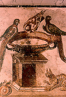 Roman Art:  Mosaic--Birds and Birdbath.  National Museum, Naples.
