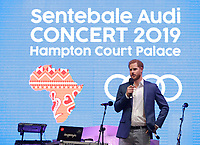 Prince Harry Duke of Cambridge speaks on stage during a concert hosted by his charity Sentebale at Hampton Court Palace, in London. The concert will raise funds and awareness for Sentebale, the charity founded by Prince Harry and Lesotho's Prince Seeiso in 2006, to support children and young people affected by HIV and AIDS in Lesotho, Botswana and Malawi. Photo Credit: ALPR/AdMedia