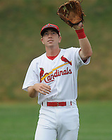 Infielder Packy Elkins (9) of the Johnson City Cardinals in a game against the Kingsport Mets on July 17, 2010, at Howard Johnson Field in Johnson City, Tenn. Photo by: Tom Priddy/Four Seam Images