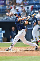Asheville Tourists shortstop Taylor Snyder (28) swings at a pitch during a game against the Greenville Drive at McCormick Field on April 16, 2017 in Asheville, North Carolina. The Drive defeated the Tourists 4-2. (Tony Farlow/Four Seam Images)