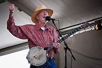 Pete Seeger performing on the main Acura Stage at the New Orleans Jazz and Heritage Festival at the New Orleans Fair Grounds Race Course in New Orleans, Louisiana, USA, 25 April 2009.