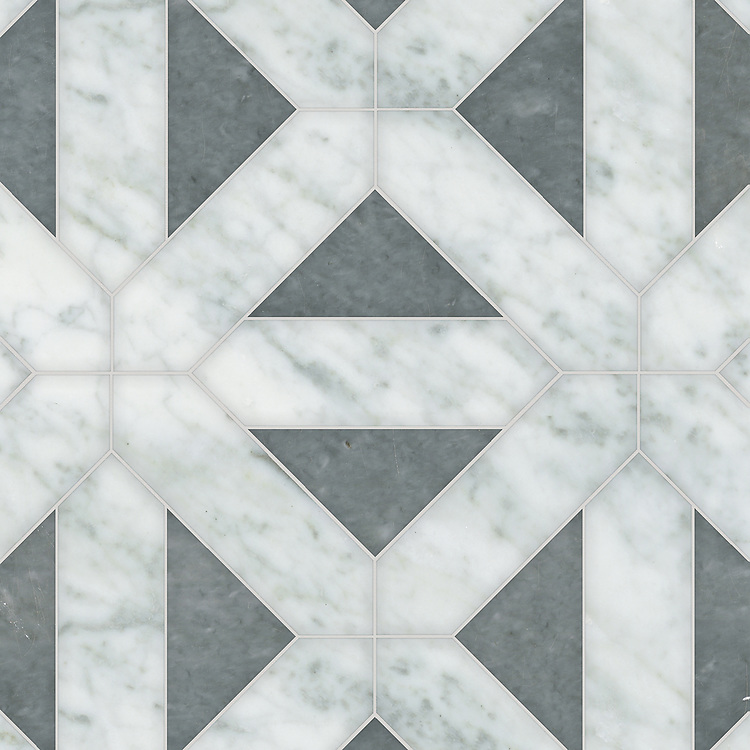 Joie Grand, a hand-cut stone mosaic, shown in polished Bardiglio and Carrara, is part of the Semplice® collection for New Ravenna.