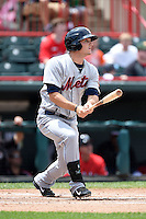 Binghamton Mets outfielder Darrell Ceciliani (10) at bat during a game against the Erie Seawolves on July 13, 2014 at Jerry Uht Park in Erie, Pennsylvania.  Binghamton defeated Erie 5-4.  (Mike Janes/Four Seam Images)