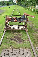 Street Photography, Manila, Philippines Sleeping on the Railway tracks