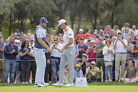 Jon Rahm (ESP) and Rafa Cabrera Bello (ESP) on the 5th tee during the second round of the Mutuactivos Open de Espana, Club de Campo Villa de Madrid, Madrid, Madrid, Spain. 04/10/2019.<br /> Picture Hugo Alcalde / Golffile.ie<br /> <br /> All photo usage must carry mandatory copyright credit (© Golffile | Hugo Alcalde)