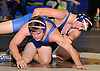 Ryan Stieve of Huntington, right, looks to control Andrew DiGiacomo of North Babylon during the opening round of the Suffolk County varsity wrestling championship at North Babylon High School on Wednesday, Jan. 27, 2016. Stieve rallied to win the 195 pound match by decision 9-8 to help 13th seeded Huntington to a 34-33 upset over fourth seeded North Babylon.