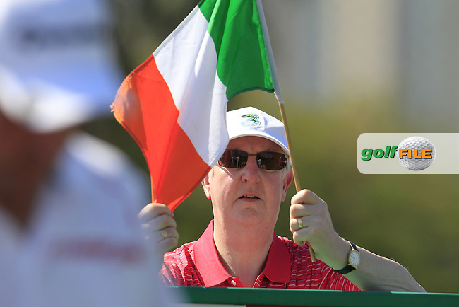 Irish fan on the 1st tee to start his game during Pink Friday's Round 2 of the 2015 Omega Dubai Desert Classic held at the Emirates Golf Club, Dubai, UAE.: Picture Eoin Clarke, www.golffile.ie: 1/30/2015