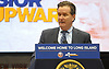 New York State Senate Majority Leader John J. Flanagan speaks during a news conference at Nassau Coliseum on Monday, Jan. 29, 2018. At the conference, New York State Governor Andrew Cuomo (not in pictured) announced the coliseum will host a portion of Islanders home games over the next three seasons as the team's new arena at Belmont is being constructed.