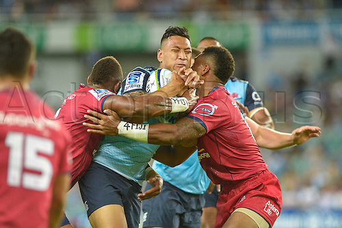 27.02.2016.  Sydney, Australia. Super Rugby. NSW Waratahs versus Queensland Reds. Waratahs fullback Israel Folau in action. The Waratahs won 30-10.