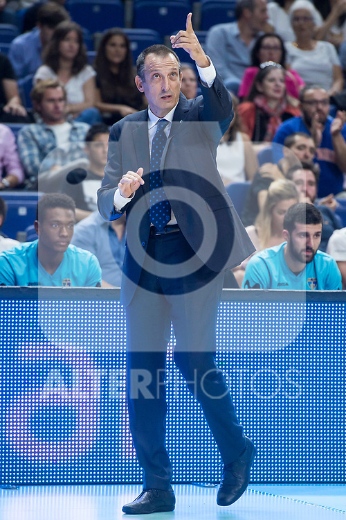Movistar Estudiantes coach Salva Maldonado during Basketball Champions League match between Movistar Estudiantes and Donar Groningen at Wizink Center in Madrid, Spain October 02, 2017. (ALTERPHOTOS/Borja B.Hojas)