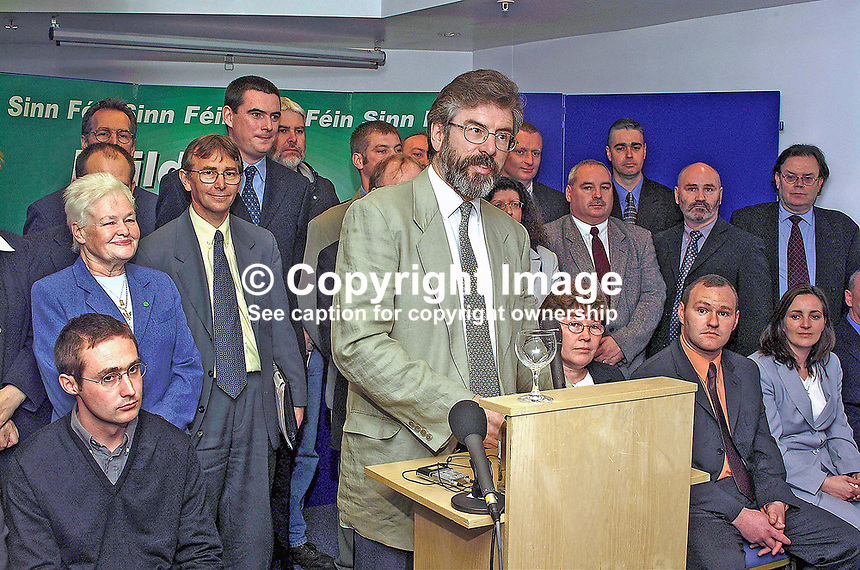 Sinn Fein leader, Gerry Adams, surrounded by his party´s local government candidates, speaking at Press Conference in Belfast´s Waterfront Hall, to launch their election campaign. The local councils go to the polls on June 7 the same date as the UK General Election. 2001051705...Copyright Image from Victor Patterson, 54 Dorchester Park, Belfast, UK, BT9 6RJ..Tel: +44 28 9066 1296.Mob: +44 7802 353836.Voicemail +44 20 8816 7153.Skype: victorpattersonbelfast.Email: victorpatterson@mac.com.Email: victorpatterson@ireland.com (back-up)..IMPORTANT: If you wish to use this image or any other of my images please go to www.victorpatterson.com and click on the Terms & Conditions. Then contact me by email or phone with the reference number(s) of the image(s) concerned.