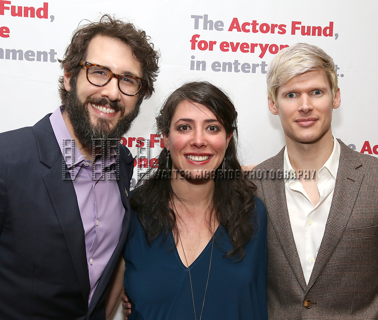 Josh Groban, Rachel Chavkin and Lucas Steele attends The Actors Fund Annual Gala at the Marriott Marquis on 5/8//2017 in New York City.