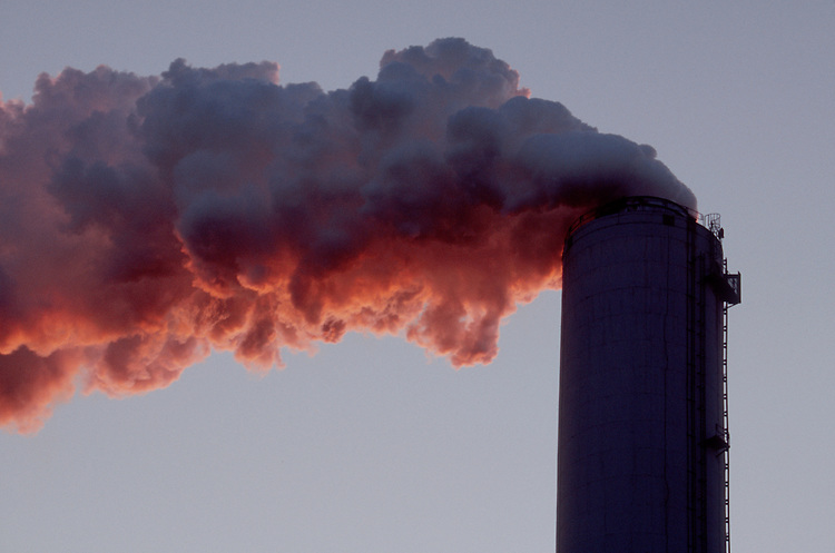 Polluting smoke, coal fired power plant, smokestack, on the shore of Lake Michigan, Gary, Indiana, USA,.