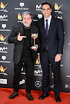 Javier Olivares (L) win the award at Feroz Awards 2017 in Madrid, Spain. January 23, 2017. (ALTERPHOTOS/BorjaB.Hojas)