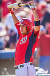 5 March 2013: Washington Nationals infielder Carlos Rivero stands on deck during a Spring Training game against the Houston Astros at Space Coast Stadium in Viera, Florida. The Nationals defeated the Astros 7-1 in Grapefruit League play. Mandatory Credit: Ed Wolfstein Photo *** RAW (NEF) Image File Available ***