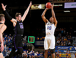 BROOKINGS, SD - NOVEMBER 6: Alou Dillon #10 from South Dakota State University shoots over Alessandro Lever #25 from Grand Canyon University during their game Tuesday night at Frost Arena in Brookings, SD. (Photo by Dave Eggen/Inertia)