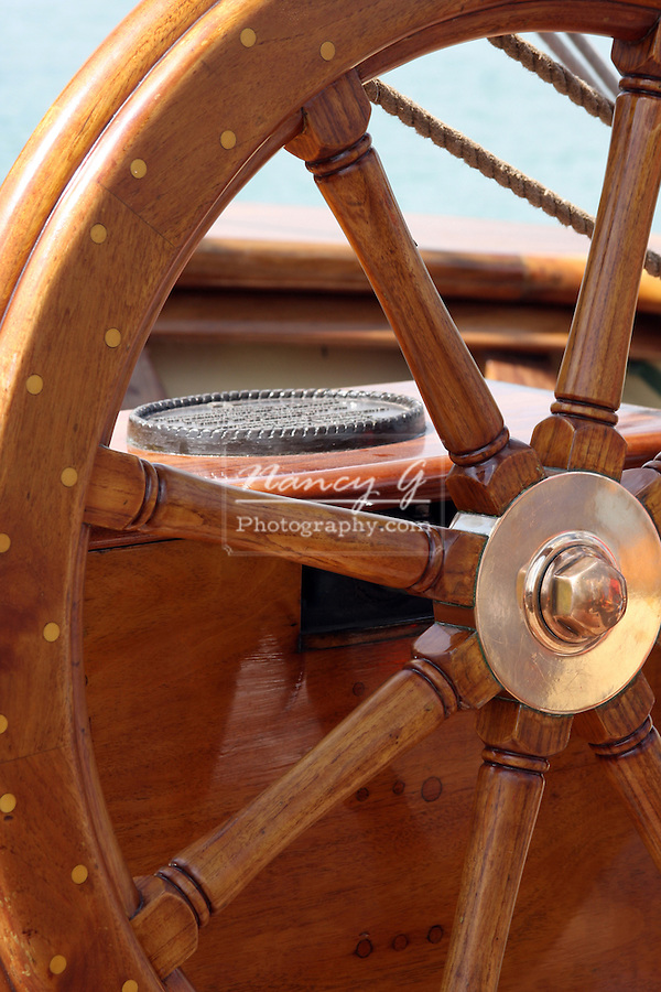 The steering wheel on the Pride of the Baltimore Ship