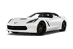 Stock pictures of low aggressive front three quarter view of a 2018 Chevrolet Corvette Stingray 1LT 2 Door Coupe