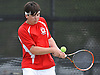 Patrick Hannity of Cold Spring Harbor returns a volley during the Nassau County varsity boys' tennis doubles championship match against Dylan Granat and Daniel Shleimovich of Syosset at Oceanside High School on Satuday, May 16, 2015.<br /> <br /> James Escher