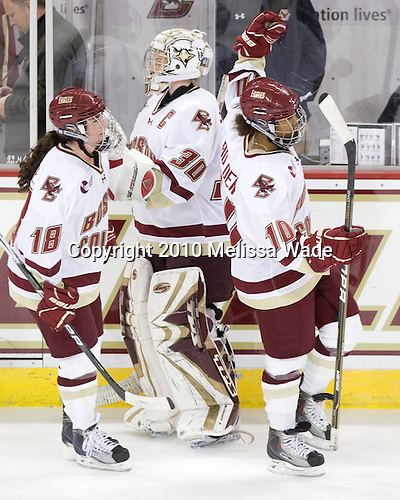 Ashley Motherwell (BC - 18), Molly Schaus (BC - 30), Blake Bolden (BC - 10) - The Boston College Eagles defeated the visiting Brown University Bears 5-2 on Sunday, October 24, 2010, at Conte Forum in Chestnut Hill, Massachusetts.