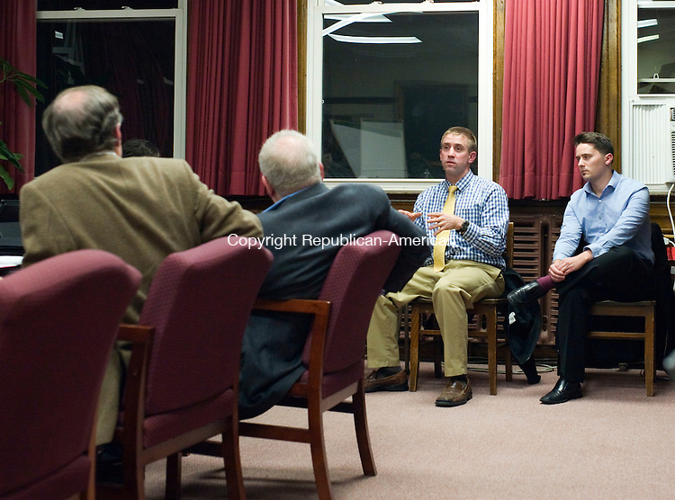 Torrington, CT- 30 November 2015-113015CM09- Andrew Marchand, center, a teacher at Torrington High School addresses members of the CauseWay Agency at the Torrington Board of Education office on Monday.  The group is putting together a marketing campaign and is aiming to help the Torrington High School.   Christopher Massa Republican-American