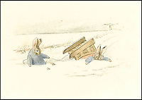 BNPS.co.uk (01202 558833)<br /> Pic: Sothebys/BNPS<br /> <br /> ***Please use full byline***<br /> <br /> One of the first drawings of Peter Rabbit by Beatrix Potter that she created seven years before the launch of her first children's book.<br /> <br /> A never-seen-before grainy photograph of a pet rabbit is the real life inspiration for Beatrix Potter's famous character Benjamin Bunny.<br /> <br /> The legendary children's author photographed her pet Belgian rabbit in the late 19th century, years before the release of her book 'The Tale of Benjamin Bunny'.<br /> <br /> She called the brown creature Benjamin Bouncer after she bought him from a pet shop in London.<br /> <br /> The 5.5ins by 3.5in card has now been sold by a descendant in the Mott family who inherited it for &pound;1,100 Dominic Winter Auctioneers of Cirencester, Glos.