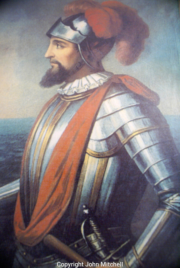 Portrait of Vasco Nunez de Balboa in the Museo Historico Naval or Naval History Museum, city of Veracruz, Mexico. Balboa crossed the Isthmas of Panama in 1513. He was the first European known to see the Pacific Ocean from the New World.