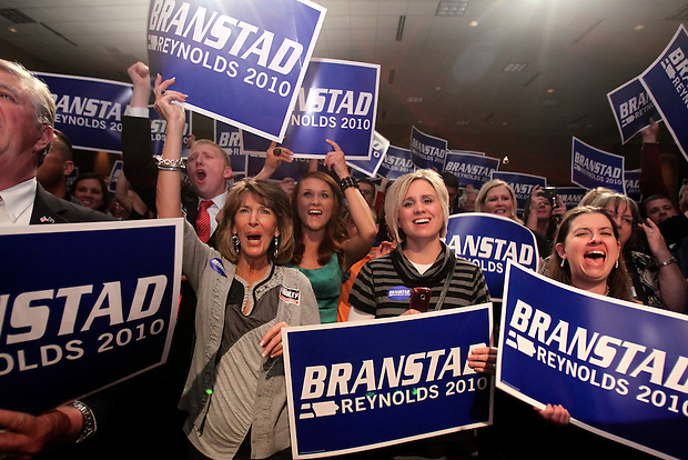 Branstad supporters cheer at the Republican party election night rally at the Hy-Vee Conference Center in West Des Moines on Tuesday night, November 2, 2010.