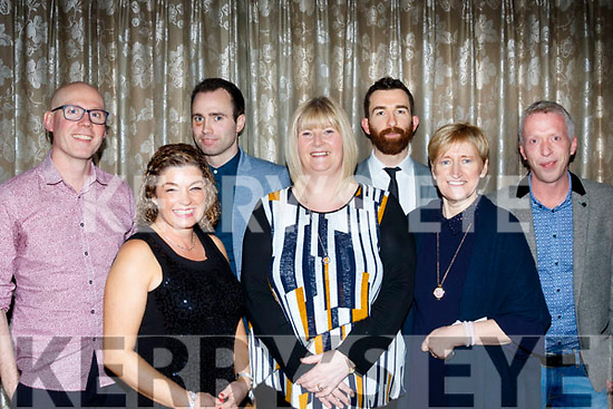 Front L-R Leila Leahy, Cara Flahive and Katty Stackback l-r Dave Murphy, Donal O'Kelly, Martin McGuire and Martin Dowling at the Bon Secure Hospital, Tralee, Foundation day celebration, last Friday night in the Ballygarry House hotel, Tralee.
