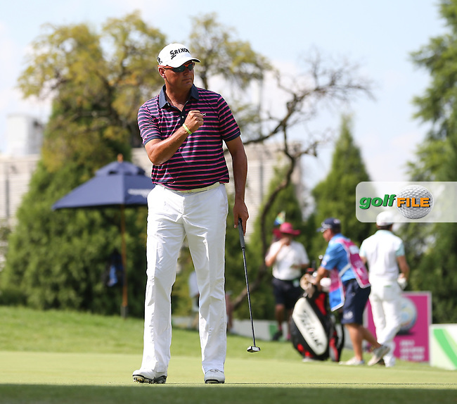 Wallie Coetsee (RSA) birdies the 11th during Round Two of the Tshwane Open 2015 at the Pretoria Country Club, Waterkloof, Pretoria, South Africa. Picture:  David Lloyd / www.golffile.ie. 13/03/2015