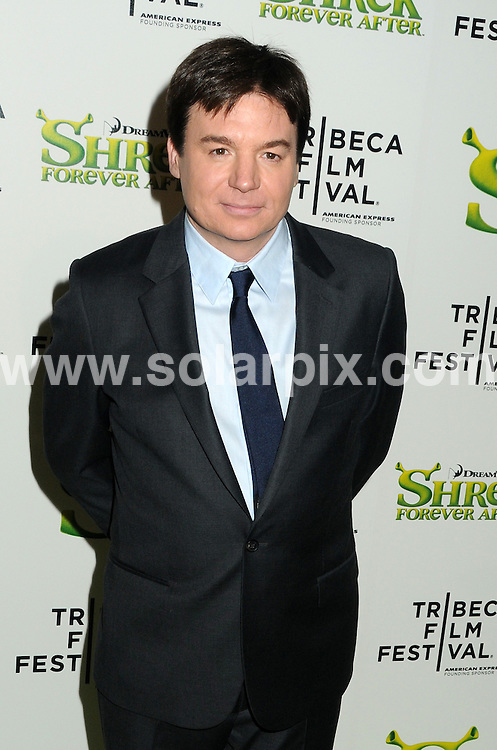 **ALL ROUND PICTURES FROM SOLARPIX.COM**.**SYNDICATION RIGHTS FOR UK, AUSTRALIA, DENMARK, PORTUGAL, S. AFRICA, SPAIN & DUBAI (U.A.E) & ASIA (EXCLUDING JAPAN) ONLY**.9th Annual Tribeca Film Festival - Shrek Forever After - Arrivals, Ziegfeld Theatre, New York City, NY, USA, 21 April 2010.This pic: Mike Myers.JOB REF: 11131     PHZ wild1   DATE: 21_04_2010.**MUST CREDIT SOLARPIX.COM OR DOUBLE FEE WILL BE CHARGED**.**MUST NOTIFY SOLARPIX OF ONLINE USAGE**.**CALL US ON: +34 952 811 768 or LOW RATE FROM UK 0844 617 7637**