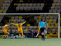 29th December 2019; Tony Macaroni Arena, Livingston, West Loathian, Scotland; Scottish Premiership Football, Livingston v Hibernian FC; Jon Guthrie of Livingston scores second goal for Livingston  - Editorial Use