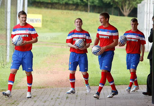 Gregg Wylde, Jamie Ness, John Fleck and Kyle Hutton launch the Rangers away kit at Murray Park