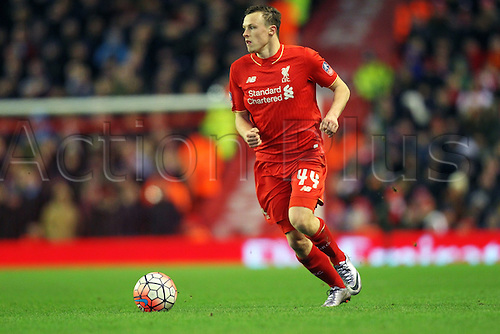 30.01.2016. Anfield, Liverpool, England. Emirates FA Cup 4th Round. Liverpool versus West Ham. Brad Smith of Liverpool runs with the ball