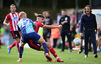Lincoln City's Ellis Chapman battles with Wycombe Wanderers' Jack Grimmer<br /> <br /> Photographer Andrew Vaughan/CameraSport<br /> <br /> The EFL Sky Bet League One - Wycombe Wanderers v Lincoln City - Saturday 7th September 2019 - Adams Park - Wycombe<br /> <br /> World Copyright © 2019 CameraSport. All rights reserved. 43 Linden Ave. Countesthorpe. Leicester. England. LE8 5PG - Tel: +44 (0) 116 277 4147 - admin@camerasport.com - www.camerasport.com