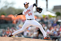 Baltimore Orioles pitcher Miguel Gonzalez (50) during a spring training game against the Philadelphia Phillies on March 7, 2014 at Ed Smith Stadium in Sarasota, Florida.  Baltimore defeated Philadelphia 15-4.  (Mike Janes/Four Seam Images)