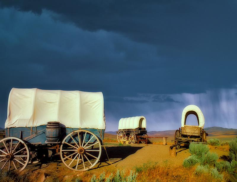 F00158M.tiff   Covered wagons at Oregon Trail Interpretive Center. Near Baker City, Oregon