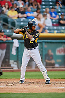 Rymer Liriano (27) of the Salt Lake Bees bats against the Sacramento River Cats at Smith's Ballpark on May 17, 2018 in Salt Lake City, Utah. Salt Lake defeated Sacramento 12-11. (Stephen Smith/Four Seam Images)